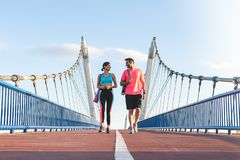 Beautiful Couple Going Together to the Gym royalty free stock photography