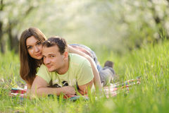 Beautiful Couple in Grass Royalty Free Stock Photos