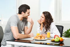 Beautiful couple having breakfast Stock Image