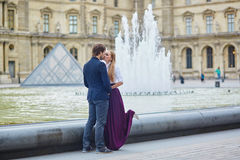 Beautiful couple having a date in Palais Royal in Paris Stock Photography