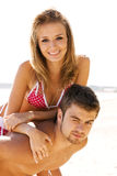 Beautiful couple having fun on the seaside Stock Photo