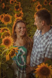 Beautiful couple having fun in sunflowers fields Royalty Free Stock Image