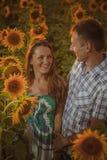 Beautiful couple having fun in sunflowers fields Royalty Free Stock Image