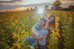 Beautiful couple having fun in sunflowers fields Royalty Free Stock Photography