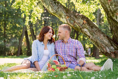 Beautiful couple having a lovely picnic in the summer park Stock Images