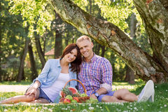 Beautiful couple having a lovely picnic in the summer park eating fruits. Royalty Free Stock Photo