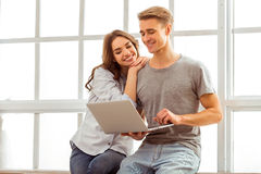 Beautiful couple at home Stock Photo