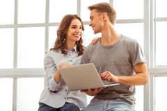 Beautiful couple at home Royalty Free Stock Photography