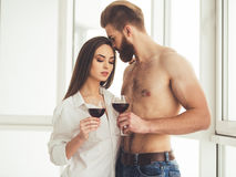 Beautiful couple at home Stock Photography