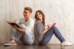 Beautiful couple at home Royalty Free Stock Image