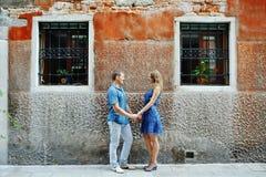 Beautiful couple in honeymoon in Venice, Italy Stock Photos