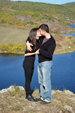 Beautiful couple hugging and kissing  outdoor Stock Photography