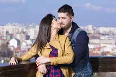 Beautiful couple  hugging and kissing  outdoor Royalty Free Stock Photo