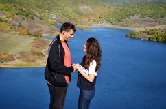 Beautiful couple hugging and laughing outdoor Royalty Free Stock Photos