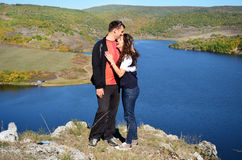 Beautiful couple hugging and laughing outdoor Stock Photography