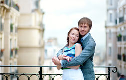 Beautiful couple hugging at viewpoint on Montmartre Stock Image