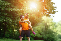 Beautiful couple jogging in nature Royalty Free Stock Image
