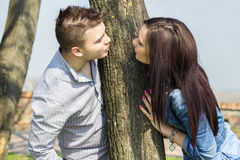Beautiful couple kissing each other. Spring day Stock Photos
