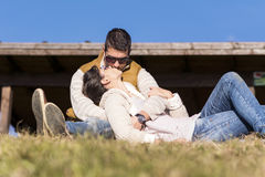 Beautiful couple kissing and hugging outdoor Stock Photos