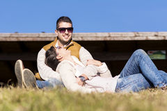 Beautiful couple kissing and hugging outdoor Royalty Free Stock Photography