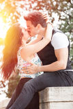 Beautiful couple kissing and love. Loving relationship and feeling. Passionate kiss. A men and a women is strongly embrace with passion and feeling. Love affair Royalty Free Stock Photography