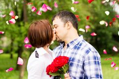 Beautiful couple kissing outdoor Stock Images