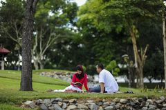 Beautiful couple learning together in the park. Education, love and tenderness, dating, romanc. Campus life, student`s love. Beautiful couple learning together royalty free stock photo