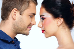 Beautiful couple looking to each other Stock Image