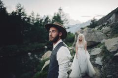 Beautiful couple in love on the background of the mountains Royalty Free Stock Photography