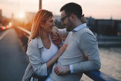 Beautiful couple in love dating and hugging Stock Images