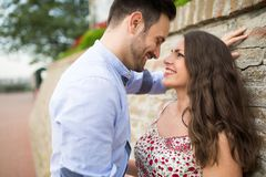 Beautiful couple in love dating outdoors stock photo