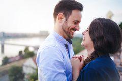 Beautiful couple in love dating outdoors royalty free stock photo