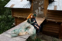 Young couple in love outdoor. Portrait of young stylish fashion royalty free stock photos