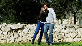 Beautiful couple in love dolly shot. Happy wonderful couple in vacation in Italy stock video