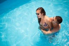 Beautiful couple in love enjoying summer resort Royalty Free Stock Images