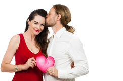 Beautiful couple in love holding love heart Stock Images