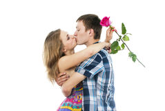 Beautiful couple in love kissing Stock Images
