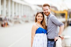 Beautiful couple outdoors. Beautiful couple in love outdoors sharing emotions Royalty Free Stock Photos