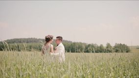 Beautiful couple in love standing in a wheat field on their wedding day in summertime. Bride and groom hug and kiss stock video footage