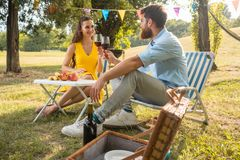 Beautiful couple in love toasting with red wine during romantic picnic stock image