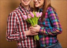 Beautiful couple in love stock photo