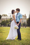 Beautiful couple in love. Wedding day. Wedding dress. Tiffany bl Stock Photo