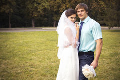 Beautiful couple in love. Wedding day. Wedding dress. Tiffany bl Stock Image