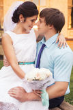Beautiful couple in love. Wedding day. Wedding dress. Tiffany bl Royalty Free Stock Photos