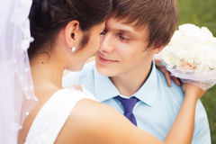 Beautiful couple in love. Wedding day. Wedding dress. Tiffany bl Royalty Free Stock Image