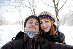 Beautiful couple make photo Royalty Free Stock Photo