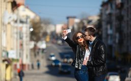 Beautiful couple making Selfe Stock Photos
