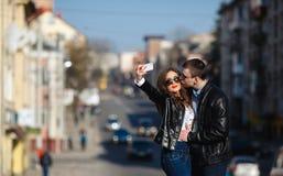 Beautiful couple making Selfe Stock Photos