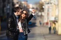 Beautiful couple making Selfe Royalty Free Stock Images