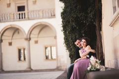 Beautiful couple, man, girl with long pink dress posing in old castle near columns. Krakow Vavel Royalty Free Stock Photo